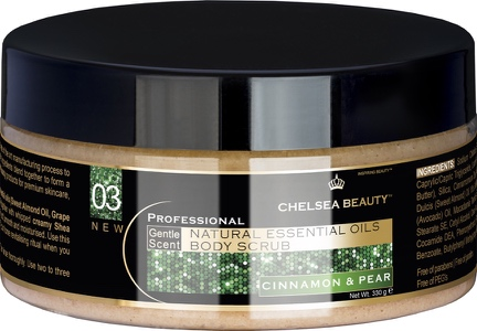 Gommage aux huiles essentielles cannelle poire - Body Scrub Cinnamon & Pear ( Chelsea Beauty)